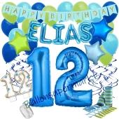 Personalisiertes Dekorations-Set mit Ballons zum 12. Geburtstag, Happy Birthday Blau, 38 Teile