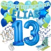 Personalisiertes Dekorations-Set mit Ballons zum 13. Geburtstag, Happy Birthday Blau, 38 Teile