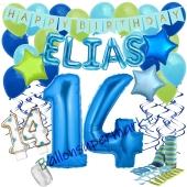 Personalisiertes Dekorations-Set mit Ballons zum 14. Geburtstag, Happy Birthday Blau, 38 Teile