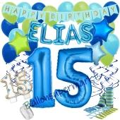 Personalisiertes Dekorations-Set mit Ballons zum 15. Geburtstag, Happy Birthday Blau, 38 Teile