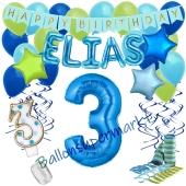 Personalisiertes Dekorations-Set mit Ballons zum 3. Geburtstag, Happy Birthday Blau, 38 Teile