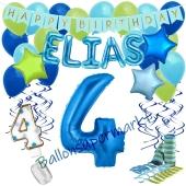Personalisiertes Dekorations-Set mit Ballons zum 4. Geburtstag, Happy Birthday Blau, 38 Teile