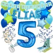 Personalisiertes Dekorations-Set mit Ballons zum 5. Geburtstag, Happy Birthday Blau, 38 Teile