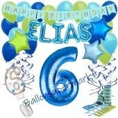 Personalisiertes Dekorations-Set mit Ballons zum 6. Geburtstag, Happy Birthday Blau, 38 Teile
