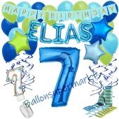 Personalisiertes Dekorations-Set mit Ballons zum 7. Geburtstag, Happy Birthday Blau, 38 Teile