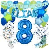 Personalisiertes Dekorations-Set mit Ballons zum 8. Geburtstag, Happy Birthday Blau, 38 Teile
