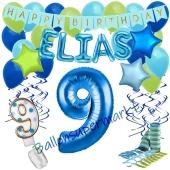 Personalisiertes Dekorations-Set mit Ballons zum 9. Geburtstag, Happy Birthday Blau, 38 Teile