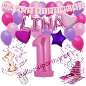 Personalisiertes Dekorations-Set mit Ballons zum 1. Geburtstag, Happy Birthday Pink, 38 Teile
