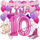 Personalisiertes Dekorations-Set mit Ballons zum 10. Geburtstag, Happy Birthday Pink, 38 Teile