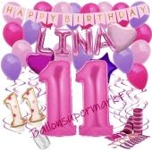 Personalisiertes Dekorations-Set mit Ballons zum 11. Geburtstag, Happy Birthday Pink, 38 Teile