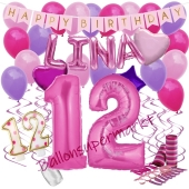 Personalisiertes Dekorations-Set mit Ballons zum 12. Geburtstag, Happy Birthday Pink, 38 Teile