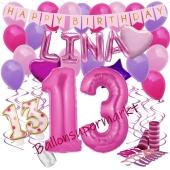 Personalisiertes Dekorations-Set mit Ballons zum 13. Geburtstag, Happy Birthday Pink, 38 Teile