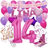 Personalisiertes Dekorations-Set mit Ballons zum 14. Geburtstag, Happy Birthday Pink, 38 Teile