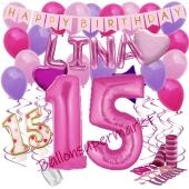 Personalisiertes Dekorations-Set mit Ballons zum 15. Geburtstag, Happy Birthday Pink, 38 Teile