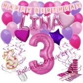 Personalisiertes Dekorations-Set mit Ballons zum 3. Geburtstag, Happy Birthday Pink, 38 Teile