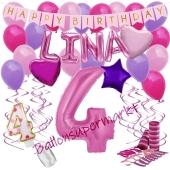 Personalisiertes Dekorations-Set mit Ballons zum 4. Geburtstag, Happy Birthday Pink, 38 Teile
