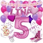 Personalisiertes Dekorations-Set mit Ballons zum 5. Geburtstag, Happy Birthday Pink, 38 Teile