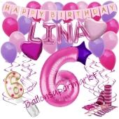 Personalisiertes Dekorations-Set mit Ballons zum 6. Geburtstag, Happy Birthday Pink, 38 Teile