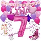 Personalisiertes Dekorations-Set mit Ballons zum 7. Geburtstag, Happy Birthday Pink, 38 Teile