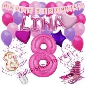 Personalisiertes Dekorations-Set mit Ballons zum 8. Geburtstag, Happy Birthday Pink, 38 Teile