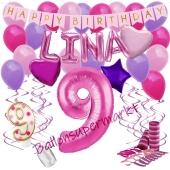 Personalisiertes Dekorations-Set mit Ballons zum 9. Geburtstag, Happy Birthday Pink, 38 Teile