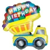 Luftballon aus Folie zum Geburtstag, Kipplaster, Happy Birthday