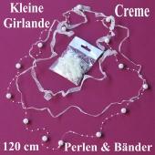 Kleine Girlande aus Perlen und Bändern in Cremefarben, Dekoration Hochzeit, Tischdeko Hochzeit