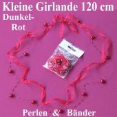 Kleine Girlande aus Perlen und Bändern in Dunkelrot, Dekoration Hochzeit, Tischdeko Hochzeit
