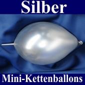 Kleine Kettenballons, Girlanden-Luftballons Mini, Silber-Metallic