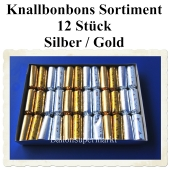 Knallbonbons Sortiment Silber Gold, 12 Stück