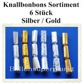 Knallbonbons Silber Gold Sortiment, 6 Stück