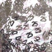 Konfetti 25 Silber, Tischdekoration und Streudekoration Zahl 25, Silberne Hochzeit