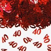 Konfetti Zahl 40, rot, Streudekoration, Tischdekoration zu 40. Geburtstag und Rubinhochzeit