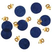 Konfetti Elegant True Blue 40, Dekoration zum 40. Geburtstag
