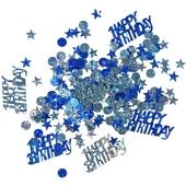 Holografisches Happy Birtday Konfetti zum Geburtstag, Blau