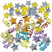 Buntes Happy Birtday Konfetti zum Geburtstag, Tischdeko