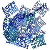 Glitzerndes Happy Birthday Konfetti zum Geburtstag, Blau