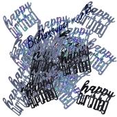Glitzerndes Happy Birthday Konfetti zum Geburtstag, Schwarz