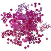 Holografisches Happy Birtday Konfetti zum Geburtstag, Pink