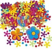 Happy Birthday Geburtstags-Konfetti mit Blumen und Punkten, Tischdekoration und Streudekoration zum Geburtstag