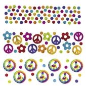 Konfetti Streudekoration, Tischdeko Hippie-Party, Partydekoration, 3 Sorten Streukonfetti