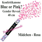 Konfettikanone Blue or Pink, Gender Reveal, rosa