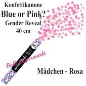Konfettikanone Blue or Pink, Gender Reveal, rosa