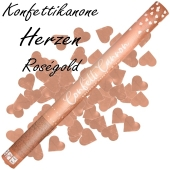 Konfettikanone, Herzen in Rose Gold