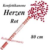 Konfettikanone, Herzen in Rot, 80 cm