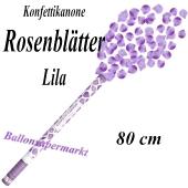 Konfettikanone mit lilafarbene Rosenblättern, Rosenrengen