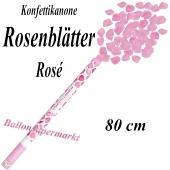 Konfettikanone mit rosafarbene Rosenblättern, Rosenrengen