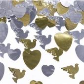 Konfetti Streudeko Herzen und Tauben in Gold und Silber, Tischdekoration Hochzeit