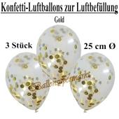 Konfetti-Luftballons 25 cm, Kristall, Transparent mit goldenem Konfetti gefüllt, 3 Stück