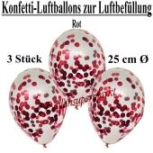 Konfetti-Luftballons 25 cm, Kristall, Transparent mit rotemem Konfetti gefüllt, 3 Stück